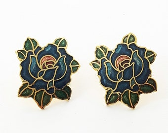 Vintage Pinup Cloisonne Blue Rose Earrings