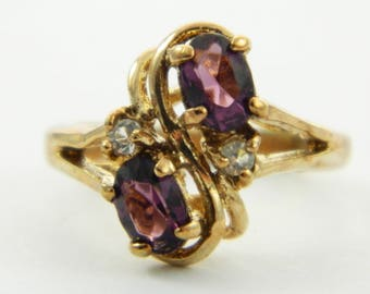 Vintage Faux Amethyst Oval CZ Duo Ring