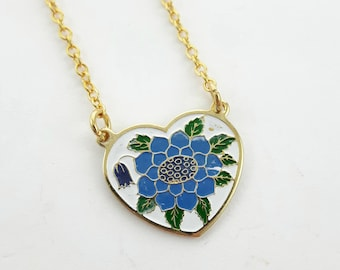 Blue Sunflower Heart Necklace