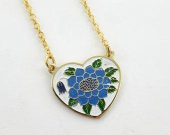 Blue Sunflower Heart Necklace