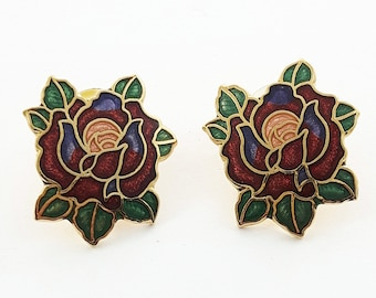 Vintage Pinup Cloisonne Rose Earrings in Red