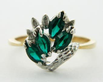 Vintage Faux Emerald Marquise Cockail Ring