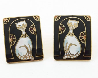 Vintage Cloisonne Cat Earrings in Black