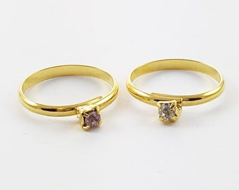 Children's Adjustable Ring Duo - White Crystal and Lilac Crystal