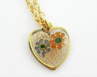 60s Floral Heart Charm Necklace