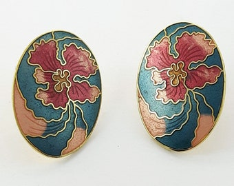 Vintage Cloisonne Hibiscus Earrings in Teal