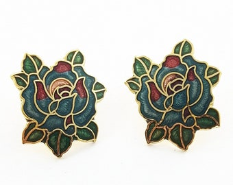 Vintage Pinup Cloisonne Rose Earrings in Teal