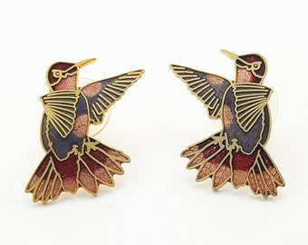 Vintage Cloisonne Bird Earrings in Red and Violet