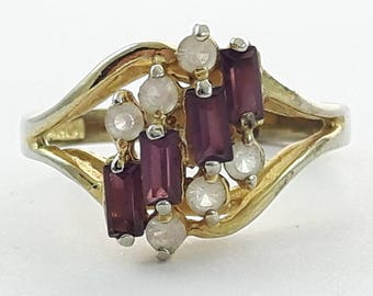 Vintage Faux Amethyst Baguettes and CZ Ring