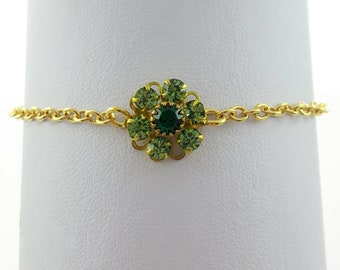 Crystal Emerald and Peridot Flower Bracelet