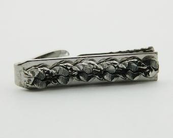 Vintage Silver Fabric Weave Tie Clip