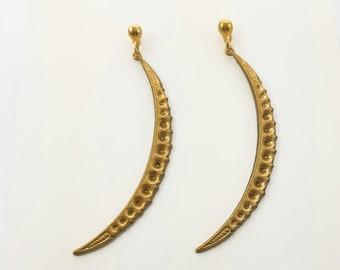 Long Brass Moon Earrings