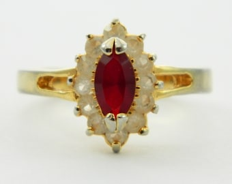 Vintage Faux Ruby Marquise Halo Ring