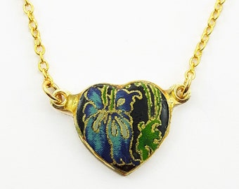 Vintage Floral Print Black Heart Necklace