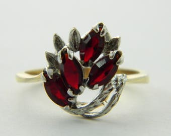Ruby CZ Yellow & White Gold Cocktail Ring