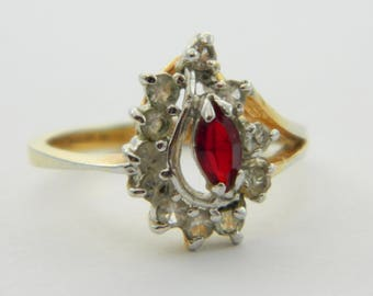 Faux Ruby Marquise Cocktail Ring