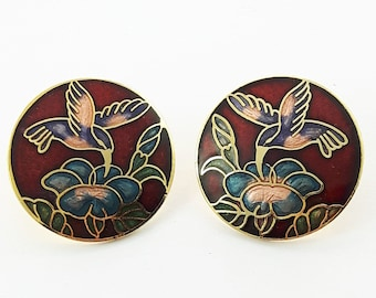 Vintage Cloisonne Hummingbird Earrings in Red