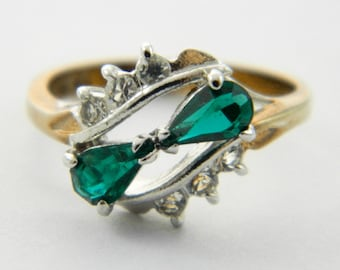Vintage 14kt Goldplated Faux Emerald Pear Duo Ring