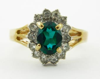 14k Gold Electroplate Faux Emerald Halo Ring
