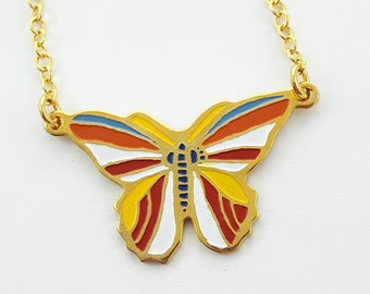 70s Butterfly Necklace - Yellow, Red, Blue and White