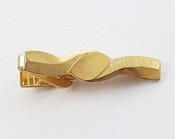 Vintage Gold Wave Tie Clip