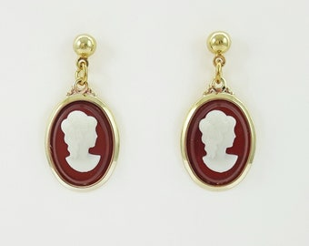 Red Cameo Earrings