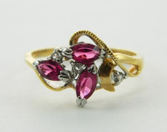 Vintage Faux Pink Sapphire 14kt Gold Electroplated Ring