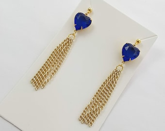 Blue Crystal Heart Tassel Earrings