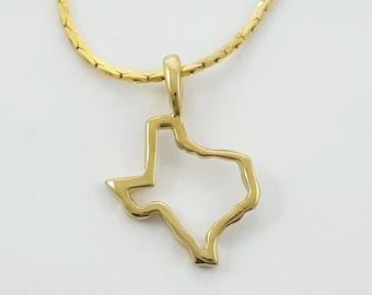 Gold Texas State Necklace