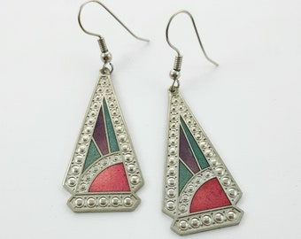 Silver Geo Triangle Deco Style Earrings