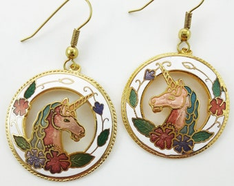 Vintage Cloisonne Unicorn Earrings in White