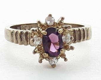 Antiqued Faux  Amethyst and CZ Cluster Ring