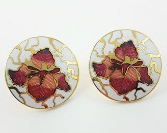 Vintage Enamel Round Flower Earrings in White