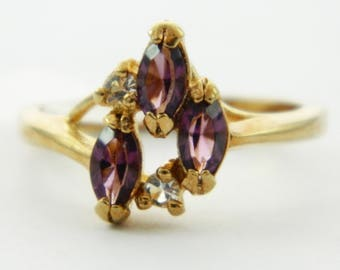 Vintage Faux Amethyst Marquise Trio Ring
