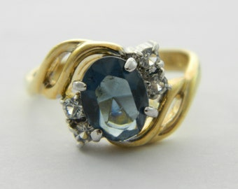 Vintage Faux Oval London Topaz Ring
