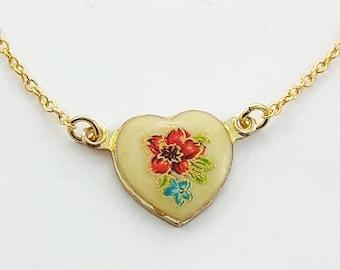 Vintage Red Japanese Floral Heart Necklace