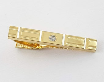 Vintage Gold Tie Clip with Crystal