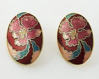 Vintage Cloisonne Hibiscus Earrings in Red