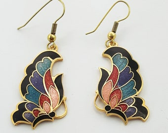 Vintage Cloisonne Butterfly Earrings in Black