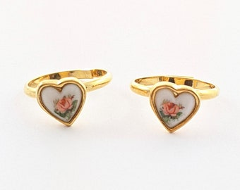 Seconds Sale - Gold Rose Heart Ring - Imperfect Ring with Side Rose Placement