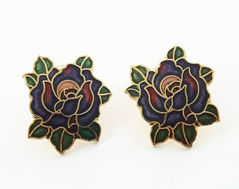 Vintage Pinup Cloisonne Rose Earrings in Purple