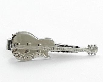 Silver Guitar Tie Clip