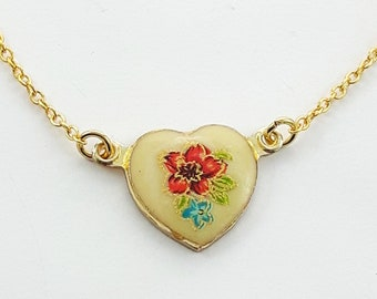 Vintage Red Japanese Floral Heart Necklace