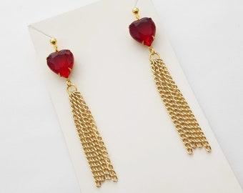 Red Crystal Heart Tassel Earrings