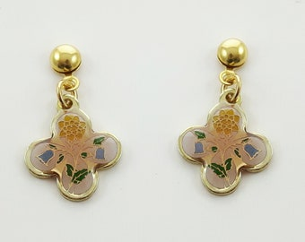 Floral Print Clover Earrings in Pink