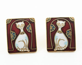 Vintage Cloisonne Cat Earrings in Red