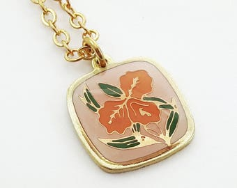Orange and Pink Hibiscus Charm Necklace