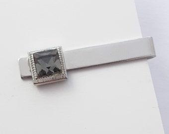 Silver Smoky Crystal Tie Clip