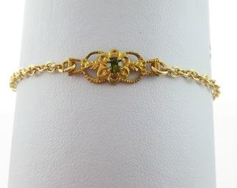 Gold Peridot Crystal Bracelet