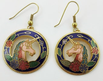 Vintage Cloisonne Unicorn Earrings in Blue
